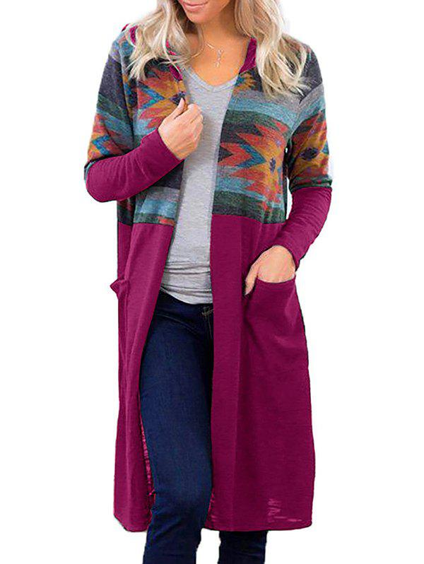 Latest Hooded Geometric Pocket Long Knitted Cardigan