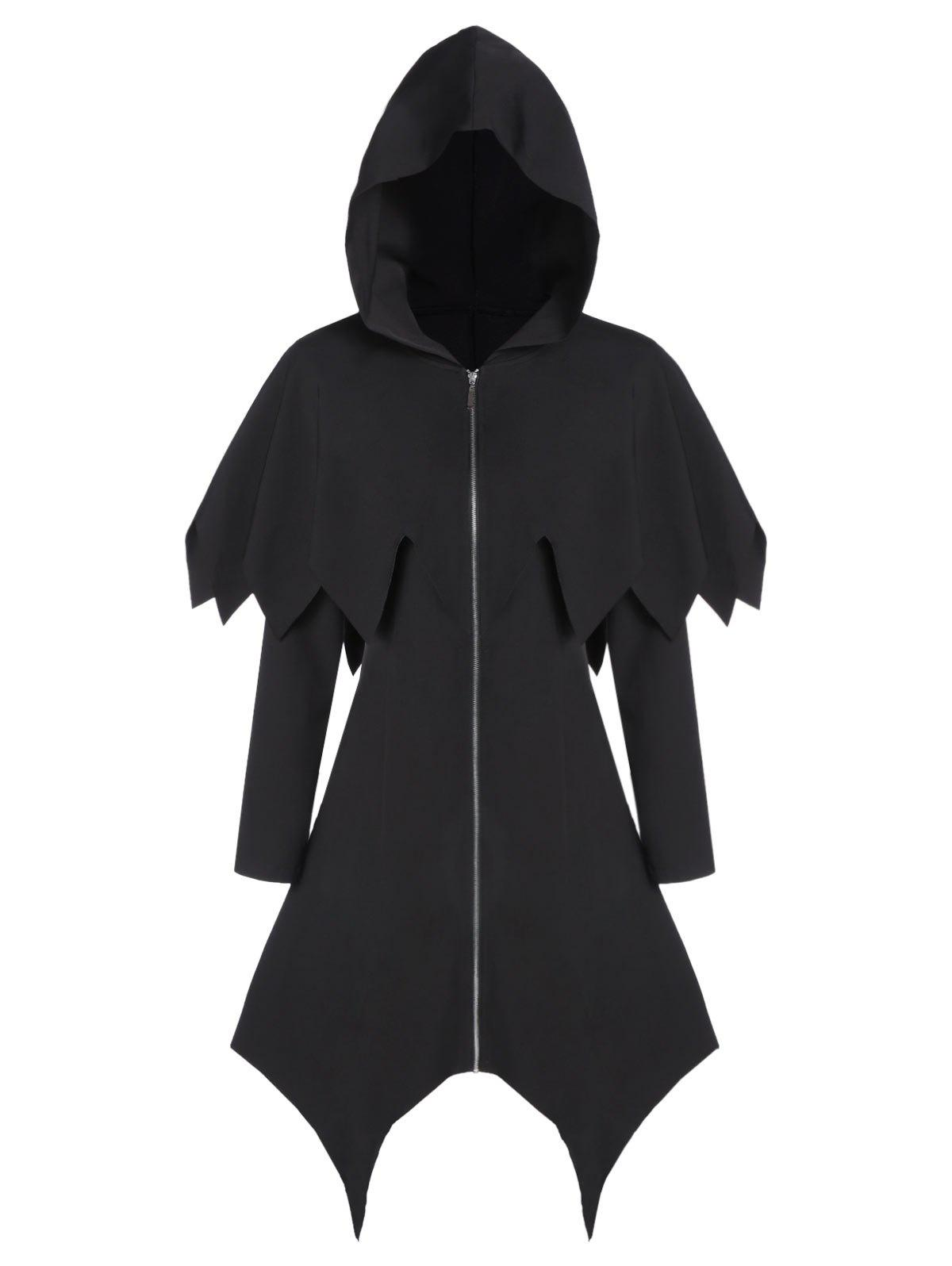 New Hooded Zip Up Asymmetrical Capelet Gothic Coat