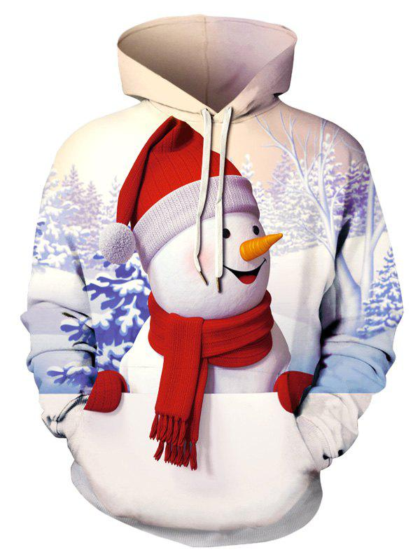 Online Plus Size 3D Snowman Print Christmas Pullover Hoodie