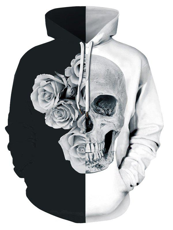 New Plus Size Two Tone Floral Skull Print Halloween Hoodie