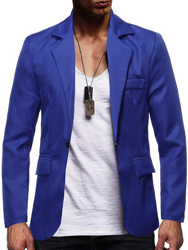 Store Solid Color Flap Pocket Split Casual Blazer