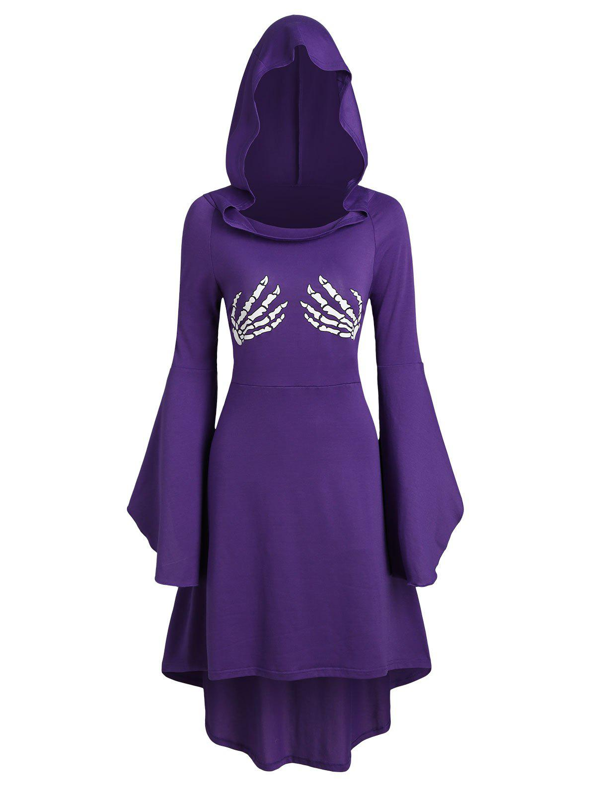 Store Skeleton Print Halloween Hooded High Low Dress