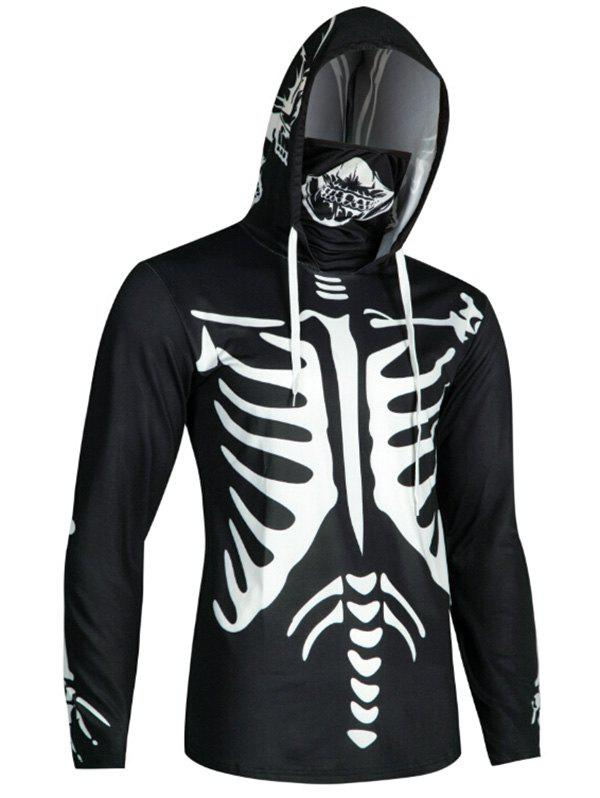 Trendy Halloween Skeleton Print Finger Hole Skull Mask Hoodie