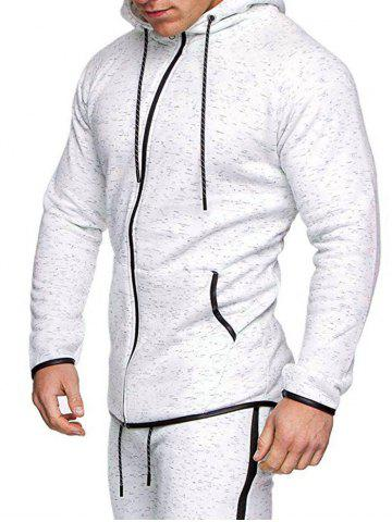 High Low Contrast Trim Raglan Sleeve Sport Zipper Hoodie - WHITE - 3XL