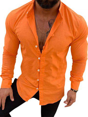 Solid Color Long Sleeve Button Casual Shirt