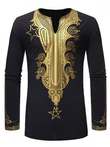 African Style Gilding Print Pullover Long-sleeved Shirt
