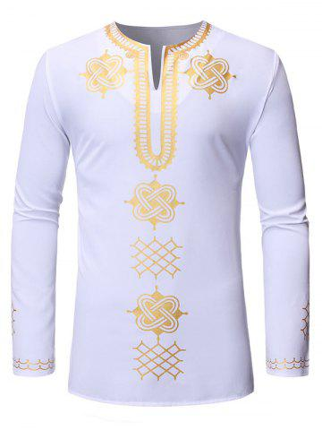 African Gilding Print Long-sleeved Pullover Shirt - WHITE - L