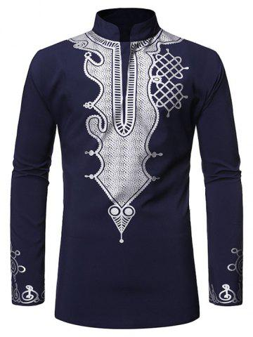 Stand Collar Gilding Pattern African Style Shirt