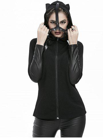 Gothic Cat Ear Faux Leather Panel Zipper Hooded Jacket