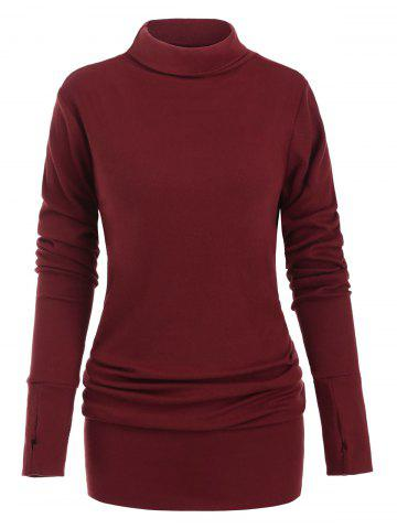 Turtleneck Long Sleeves Solid Shift Dress