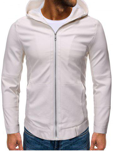 Solid Color False Leather Hooded Jacket - WHITE - 2XL