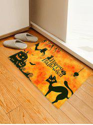 Halloween Pumpkin Cat Pattern Floor Mat -