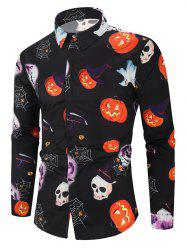 Halloween Pumpkin Skull Ghost Spider Moon Pattern Print Shirt -