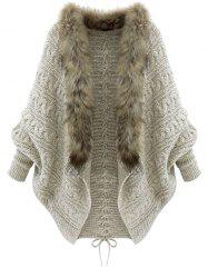 Faux Fur Batwing Sleeve Open Front Cardigan -