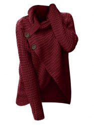 Plus Size Cowl Neck Buttons Surplice Chunky Sweater -