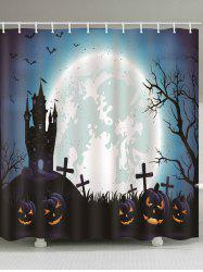 Halloween Castle Cemetery Pumpkin Print Waterproof Bathroom Shower Curtain -