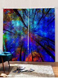 2 Panels Forest Galaxy Sky Print Window Curtains -