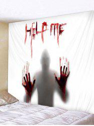 Polyester Halloween Silhouette Help Me Print Tapestry -