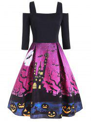 Halloween Pumpkin Castle Print Open Shoulder Dress -