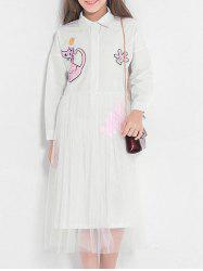 Sequins Cat Pattern Long Sleeves Shirt Tulle Dress -
