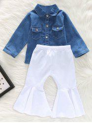 Denim Shirt and Flared Pants Set -
