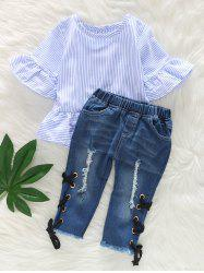 Ruffle Sleeve Striped Top and Ripped Jeans Set -