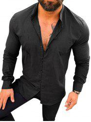 Solid Color Long Sleeve Button Casual Shirt -