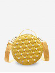 Faux Pearl Quilted Crossbody Bag -
