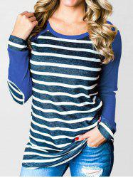 Striped Elbow Patched Contrast Tee -