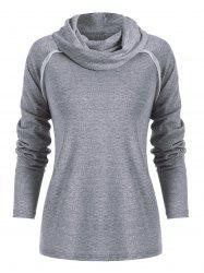 Cowl Neck Contrast Color Marled T Shirt -