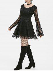 Gothic Lace Bell Sleeve A Line Dress -