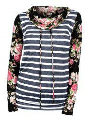 Striped Flower Print Cowl Neck Long Sleeve Tee -