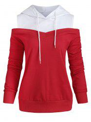 Cold Shoulder Two Tone Drawstring Hoodie -