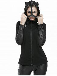 Gothic Cat Ear Faux Leather Panel Zipper Hooded Jacket -