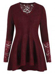 Plus Size Lace Panel Ribbed Tunic Knitwear -