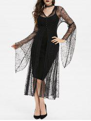 Hooded Bell Sleeve Halloween Spider Web Lace Long Coat -
