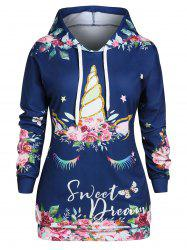 Plus Size Flower Print Drop Shoulder Drawstring Tunic Hoodie -