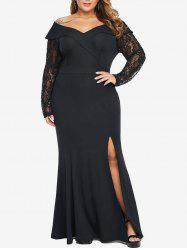 Plus Size Sequin Lace Sleeve High Slit Maxi Mermaid Dress -