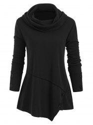 Cowl Neck Buttons Long Sleeves Top -