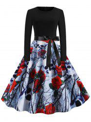 Halloween Skull Floral Print Party Flare Dress -