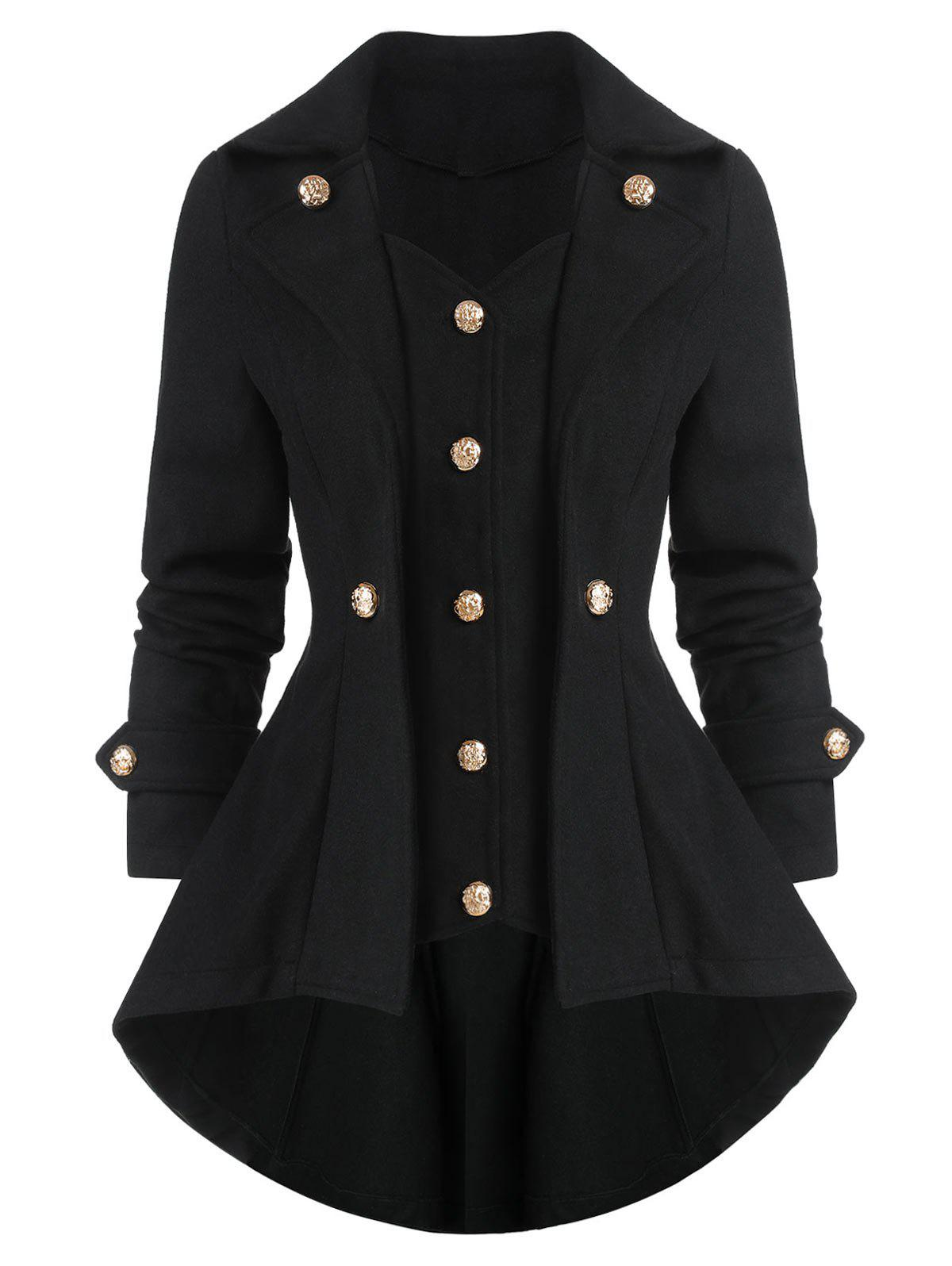 Latest High Low Solid Long Sleeve Coat