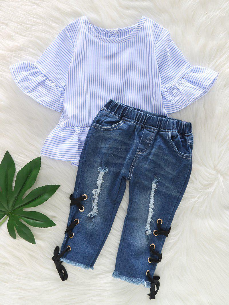 Online Ruffle Sleeve Striped Top and Ripped Jeans Set