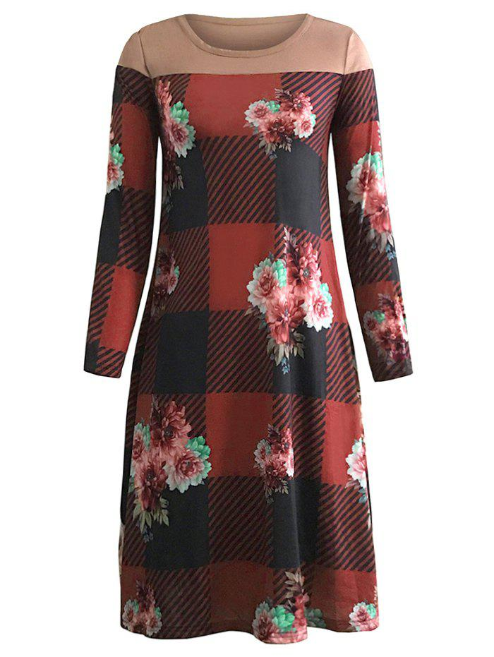 Discount Plaid Flower Print Long Sleeve Pocket Tee Dress