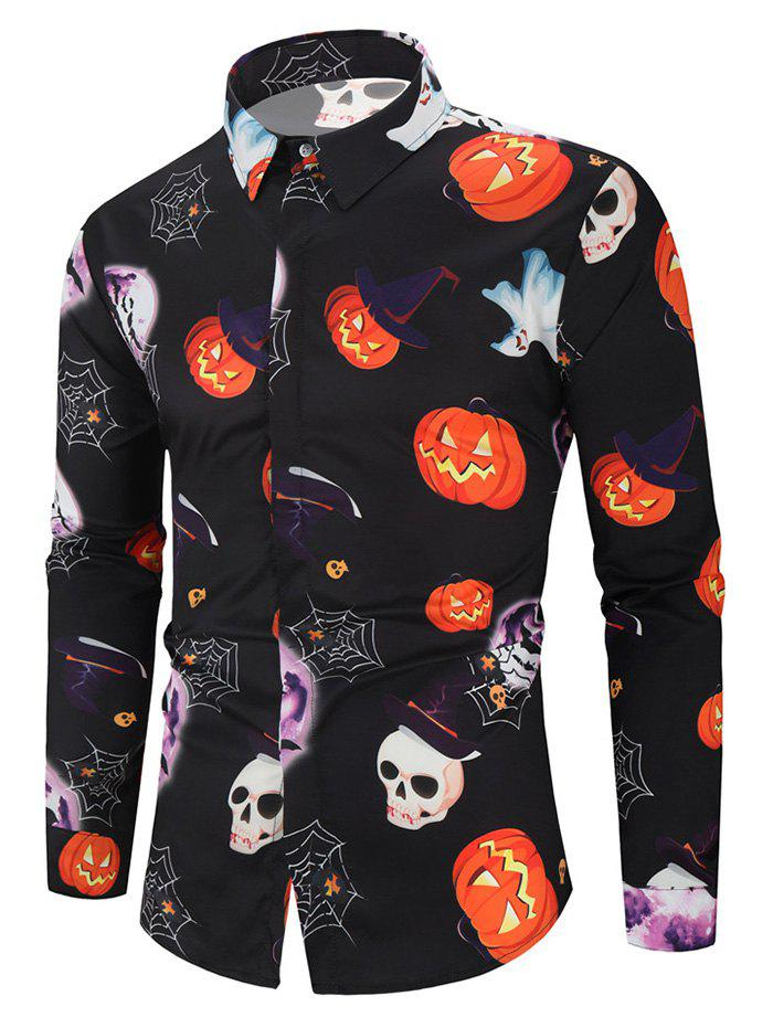 Latest Halloween Pumpkin Skull Ghost Spider Moon Pattern Print Shirt
