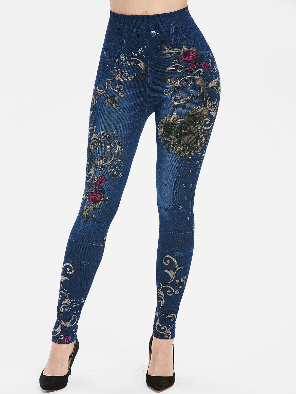 Cheap Floral Print High Rise Skinny Jeggings