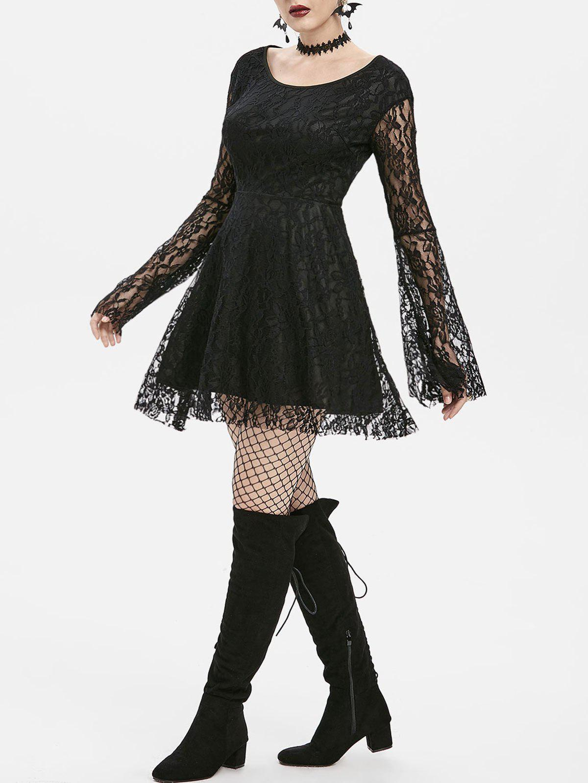 Store Gothic Lace Bell Sleeve A Line Dress