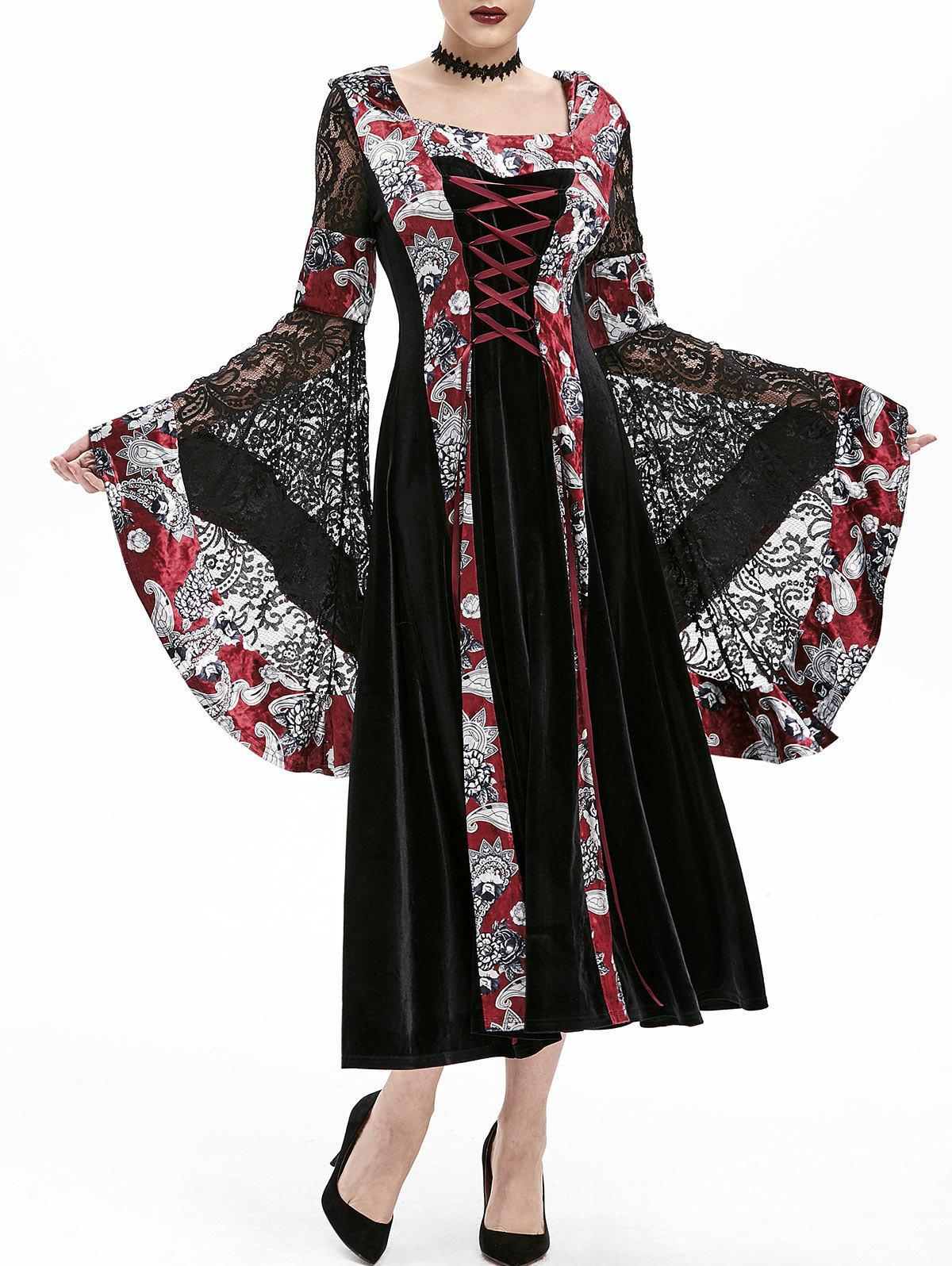 New Hooded Lace Up Bell Sleeve Gothic Halloween Dress