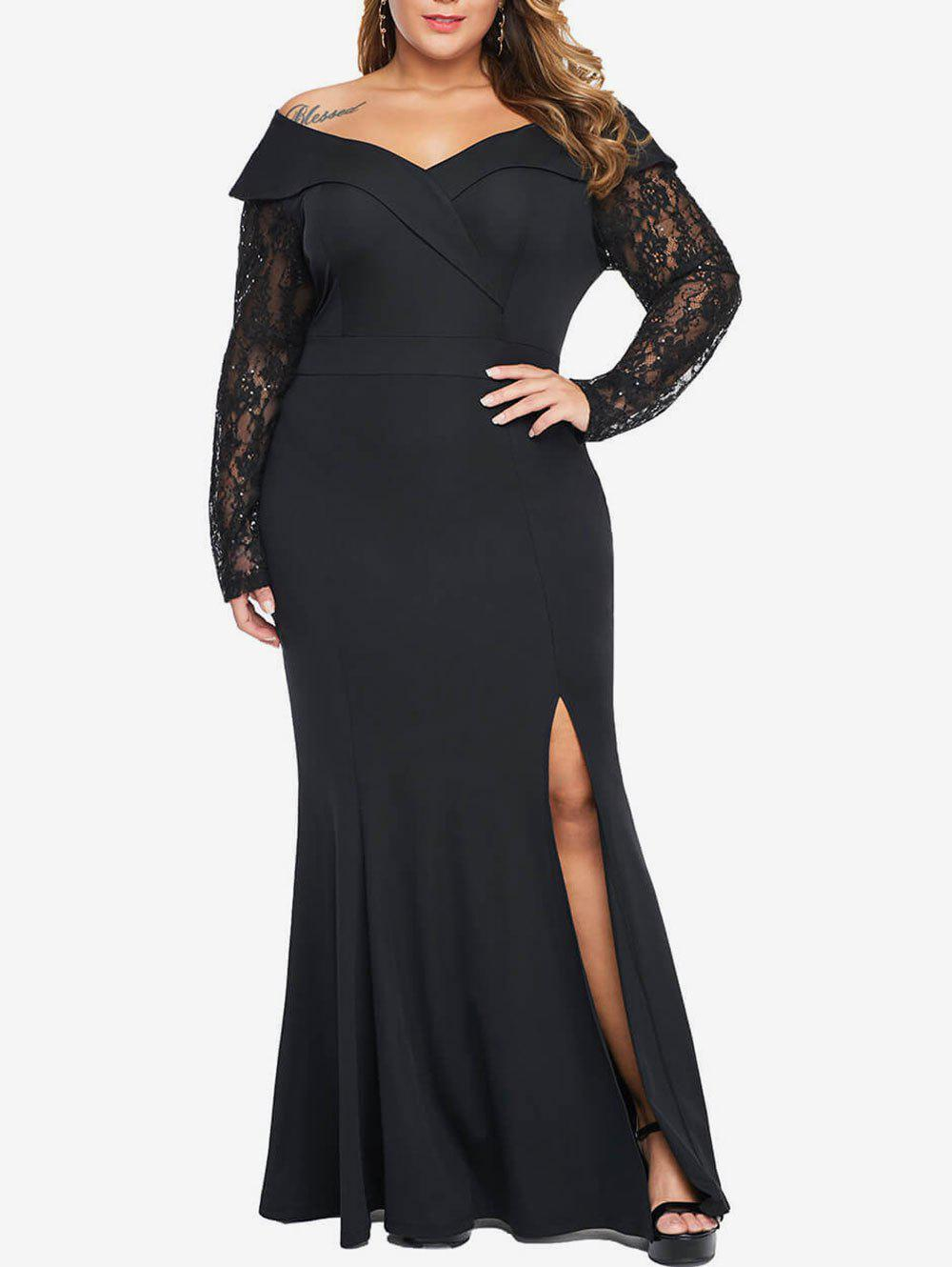 Plus Size Sequin Lace Sleeve High Slit Maxi Mermaid Dress