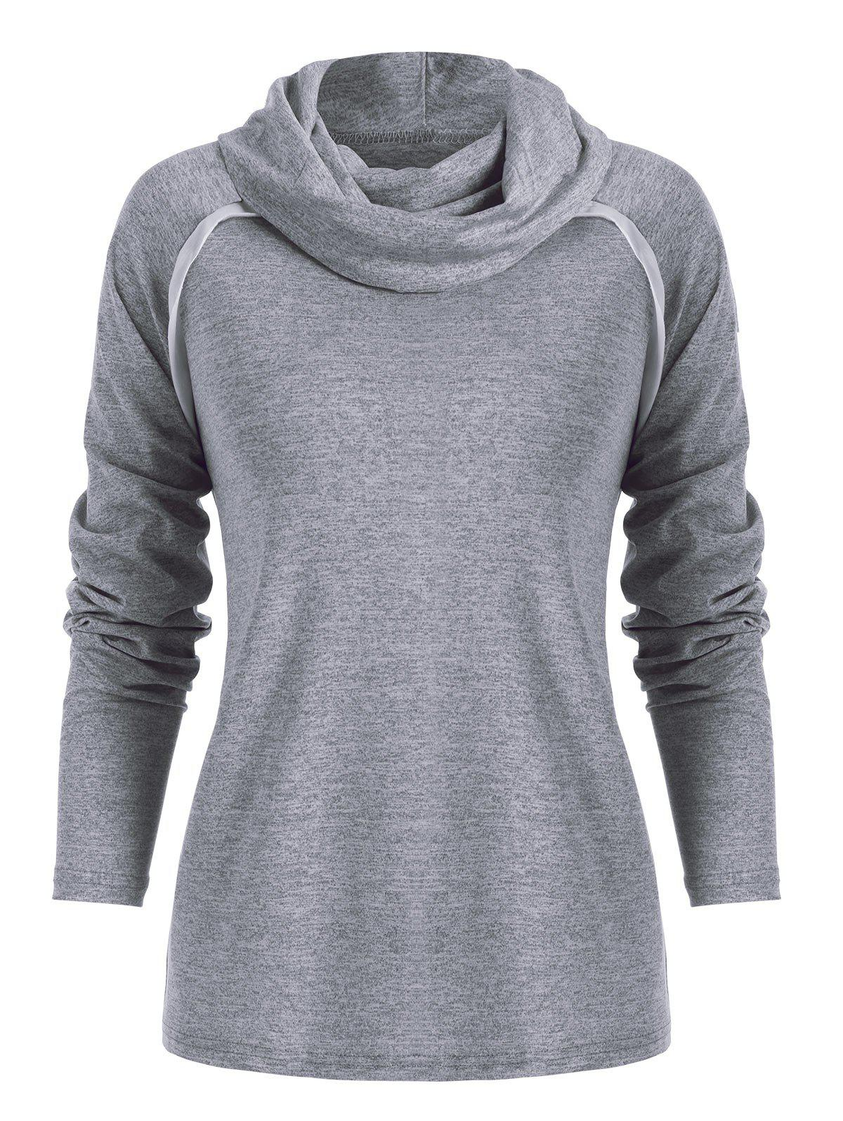 Affordable Cowl Neck Contrast Color Marled T Shirt