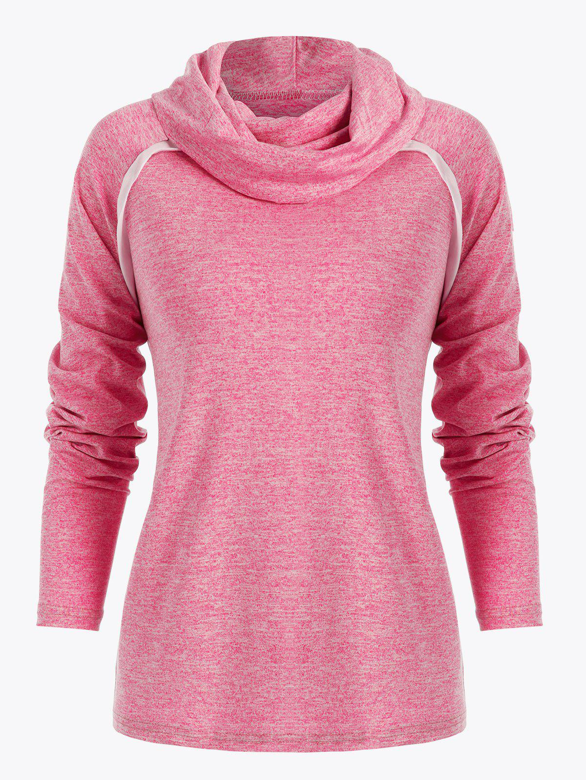 Hot Cowl Neck Contrast Color Marled T Shirt